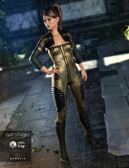 Sci-Fi Lieutenant Outfit for Genesis 3 Female(s)