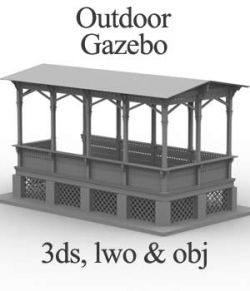 M5 Outdoor Gazebo OBJ, LWO & 3DS- Extended License