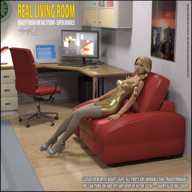 living room for daz studio props for poser and daz studio