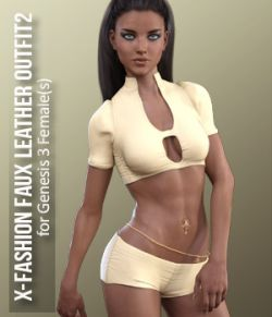 X-Fashion Faux Leather Outfit2 for Genesis 3 Females