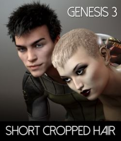 Short Cropped Hair for Genesis 3 Male and Females