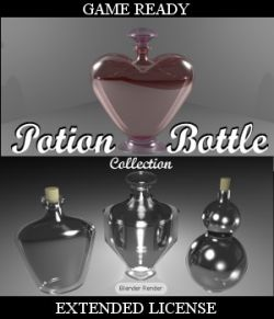 POTION BOTTLE Collection (BLEND, DAE, FBX, OBJ) Extended License