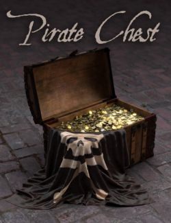 Pirate Treasure Chest, Coins and Flag