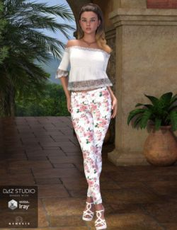 Floral Jeans Outfit for Genesis 3 Female(s)