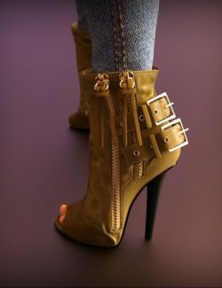 Double Zipper Buckle Boots for Genesis 3 Female(s)