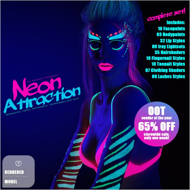Neon Attraction: Bodypaints, Lights and Shaders for Genesis 3 Females