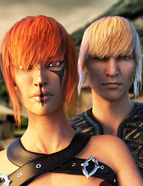 Kokoro Hair for Genesis 3 Female(s) and Male(s)