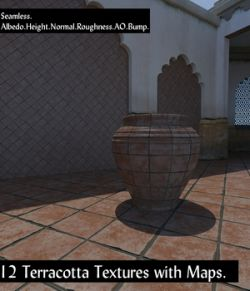 12 Seamless Terracotta Tiles and Texture Maps