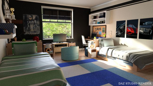 Boys Dorm Room Architecture For Poser And Daz Studio