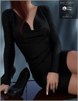 Cowl Neck Dress and Heels for Genesis 3 Female(s)