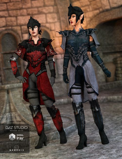 Elven Knight Armor Female Textures | 3D models for Daz