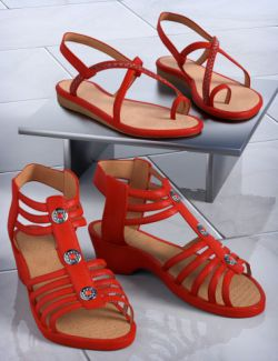 Patchwork Shoes: Sandals 1 & 2 for Genesis 3 Female(s) and Genesis 8 Female(s)