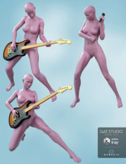 Guitar and Microphone with Poses for Genesis 8 Female and Victoria 8