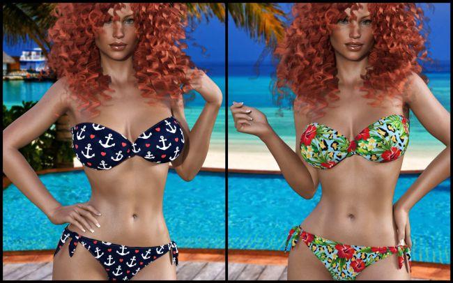 7th Ave: Bandeau Twist Bikini for Genesis 8 Female