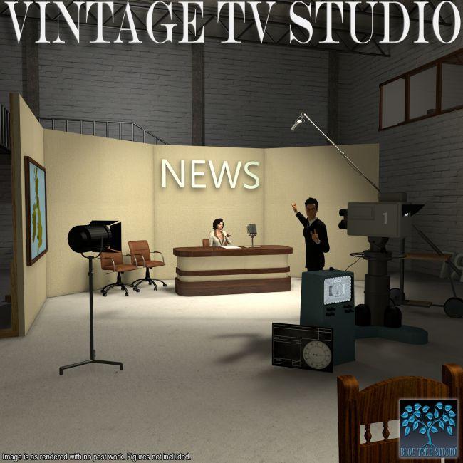 Vintage Tv Studio Props For Poser And Daz Studio