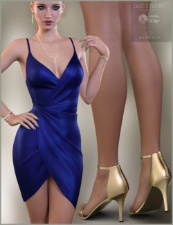 Silk Wrap Dress Outfit for Genesis 3 Female(s)
