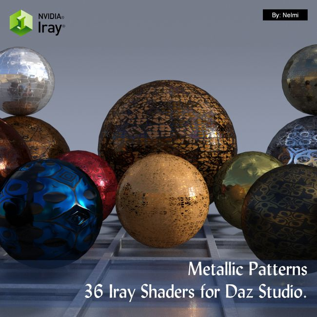 Metallic Patterns - 36 Iray Shaders for Daz Studio