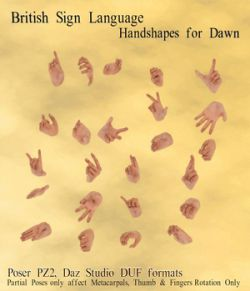 BSL Handshape Poses for Dawn