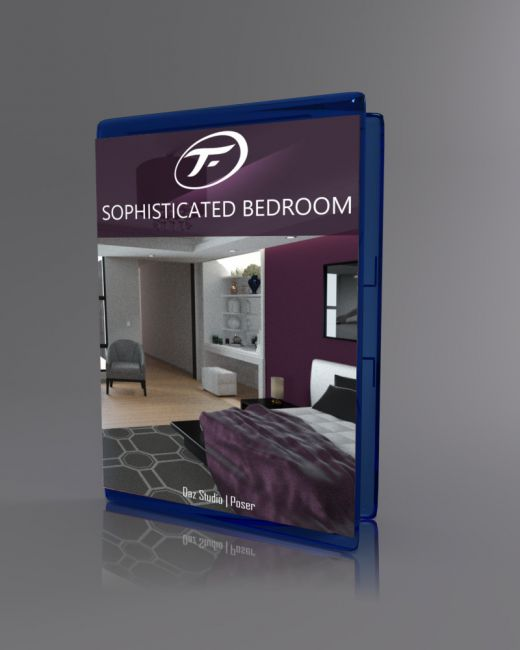 Sophisticated bedroom architecture for poser and daz studio for Living room 2 for daz studio