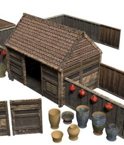 Samurai Rural Wooden Japan Forest House Set Farmer VR / AR - Extended License