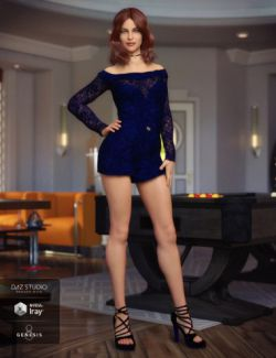 Off the Shoulder Romper for Genesis 8 Female(s)