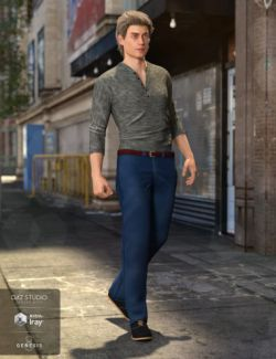 Henley Shirt and Jeans Outfit for Genesis 8 Male(s)