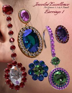 Jeweled Excellence Earrings 1 for Genesis 2, 3 and 8 Female(s)