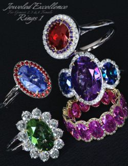 Jeweled Excellence Rings 1 for Genesis 2, 3 and 8 Female(s)