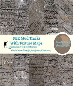 12 Mud Tracks PBR Textures with Texture Maps
