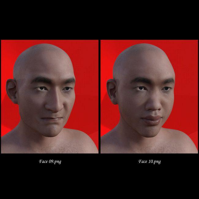 Asian Male Face Morphs for Genesis 8 Male   3D Models for