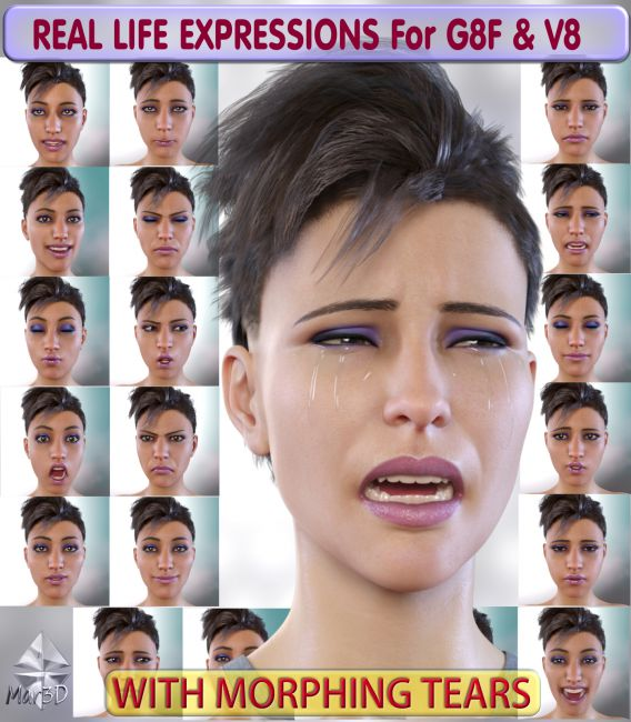 Real Life Expressions for G8F & V8 - With Morphing Tears