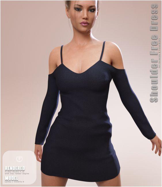 Shoulder Free Dress for Genesis 8 Females