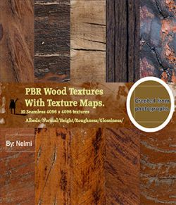 10 PBR Wood Textures with Texture Maps