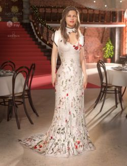 Polyantha Rose Dress for Genesis 8 Female(s)