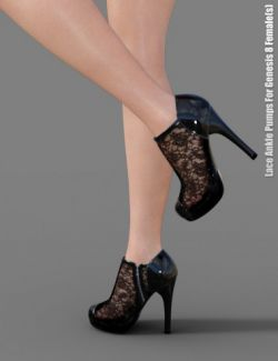 Lace Ankle Pumps for Genesis 8 Female(s)