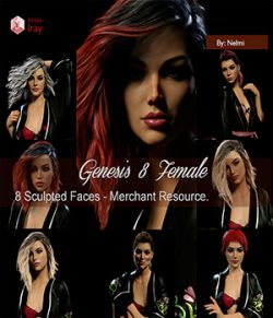 8 Custom Sculpted Faces for Genesis 8 Female - Merchant Resource
