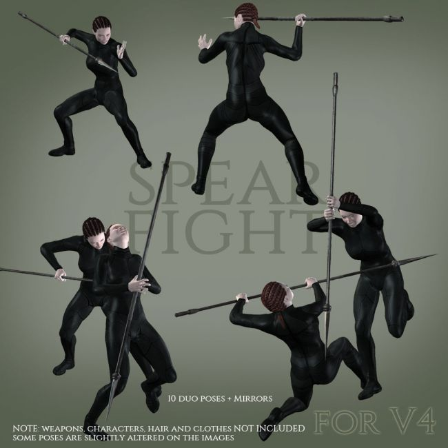 Spear Fight for V4 | 3D Models for Poser and Daz Studio