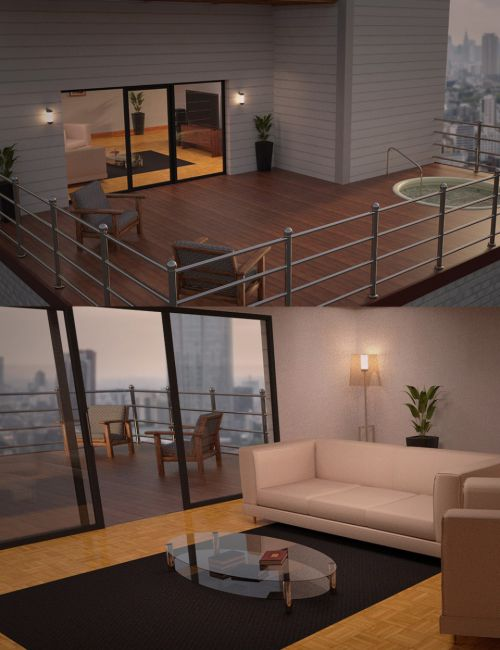 Apartment Living Room and Patio Jacuzzi