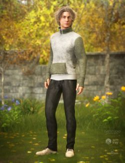 High Neck Sweatshirt Outfit for Genesis 8 Male(s)