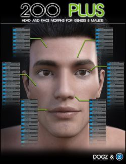 200 Plus Head and Face Morphs for Genesis 8 Male(s)