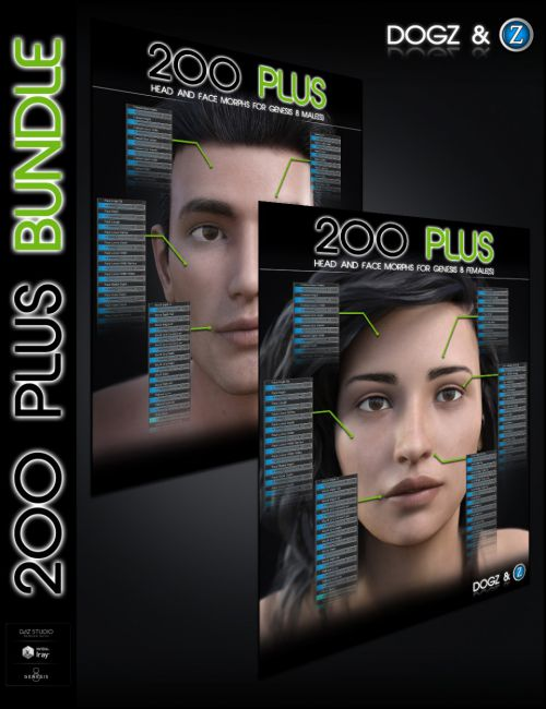 200 Plus Head and Face Morphs Bundle for Genesis 8 Female(s) and Male(s)