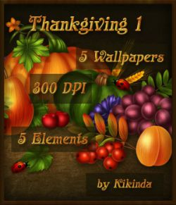 Thanksgiving Cornucopia Wallpapers and Elements 1