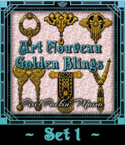 Pixel Packin Mama's Golden Art Nouveau Blings Set 1