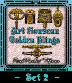 Pixel Packin  Mama s Golden Art Nouveau Blings Set 2