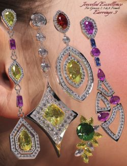 Jeweled Excellence Earrings 3 for Genesis 2, 3 and 8 Female(s)