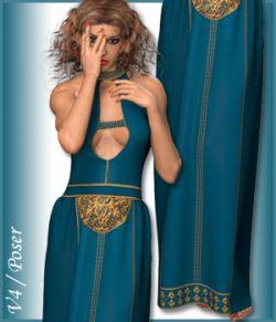 V4 Long Dress and 4 Styles for Poser