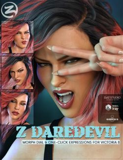 Z Daredevil - Morph Dial and One-Click Expressions for Genesis 8 Female(s)