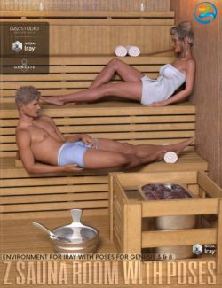 Z Sauna Room and Poses for Genesis 3 & 8