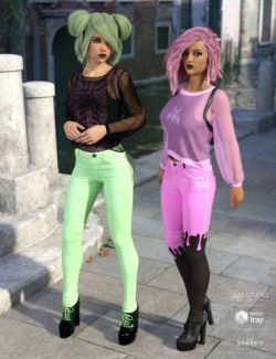 dForce Misty Pastel Goth Outfit Textures