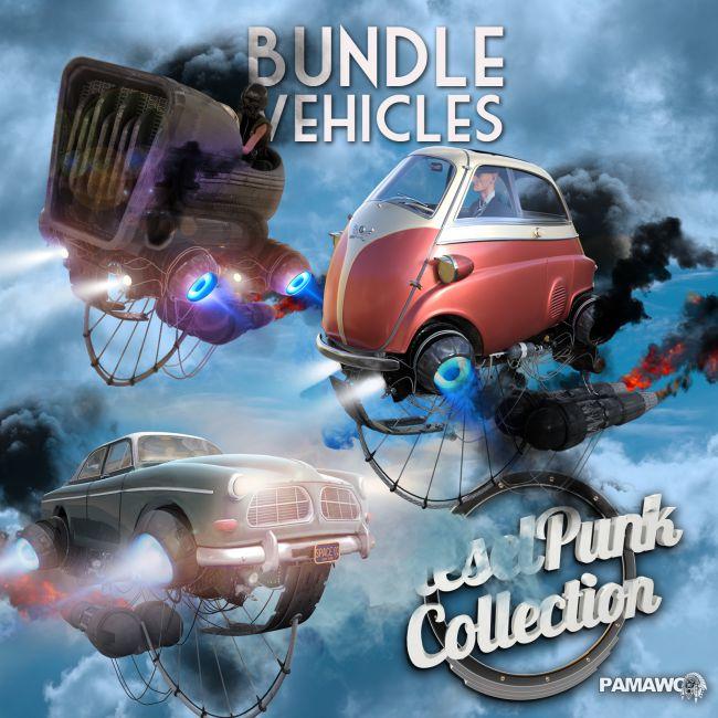 Dieselpunk bundle  3 Vehicles for Daz Studio 4.9